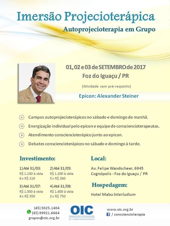 Imersão Projecioterápica. Setembro 2017